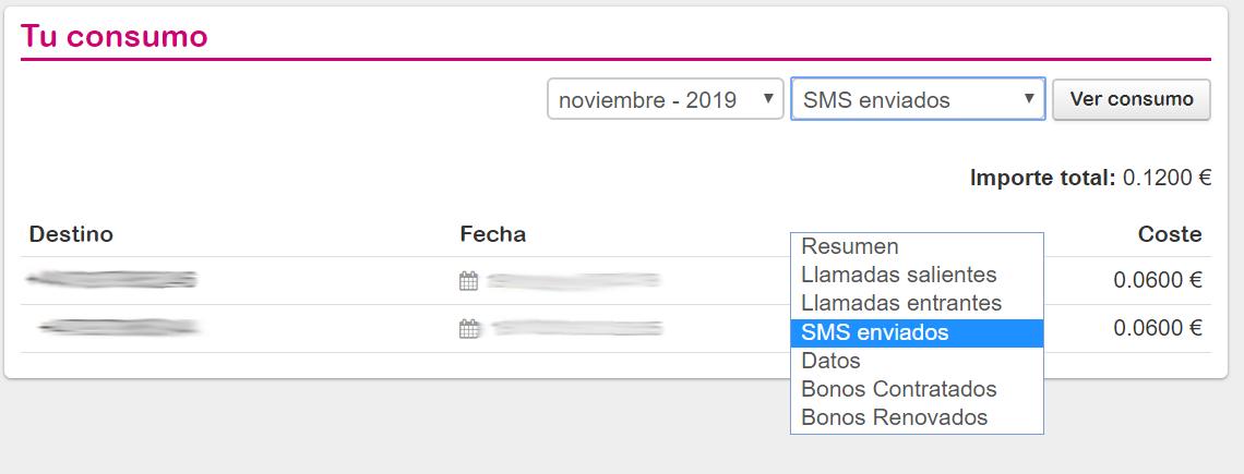 Consulta consumo SMS