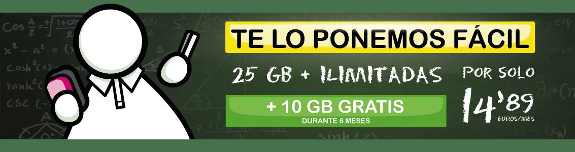 Tarifa barata de contrato 25GB ilimitadas