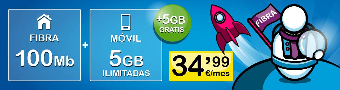 Fibra 100Mb Móvil 5GBGB