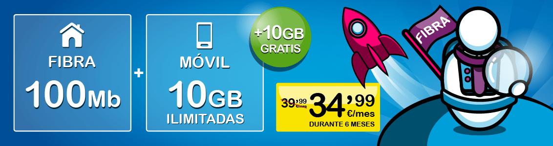 Fibra 100Mb Móvil 10GB