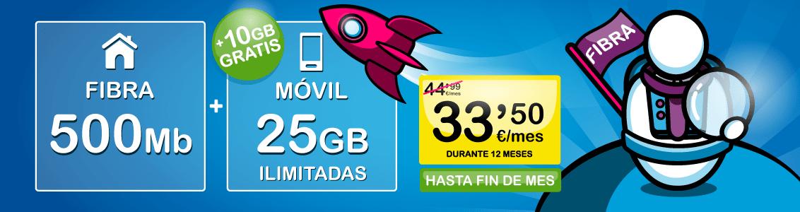 Fibra 500Mb Móvil 25GB